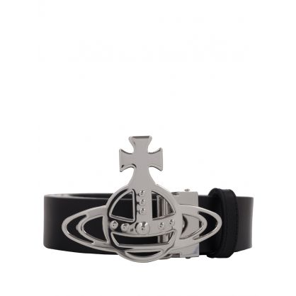 Black Line Orb Silver Buckle Belt