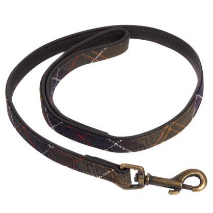 Green Tartan Leather Dog Collar