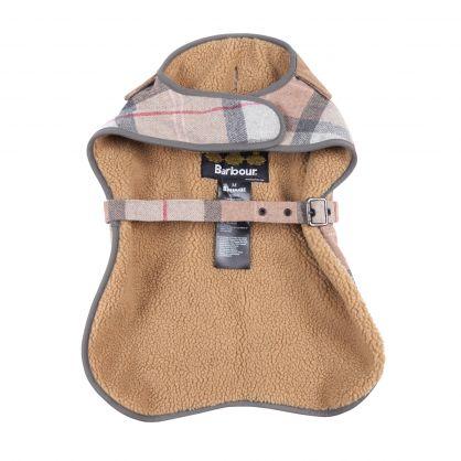 Taupe/Pink Tartan Wool Dog Coat