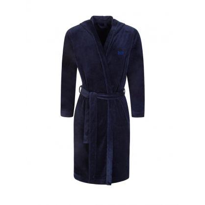 Navy Bodywear Velour Hooded Bathrobe