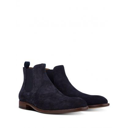 Navy Calf-Suede Barkley Chelsea Boots