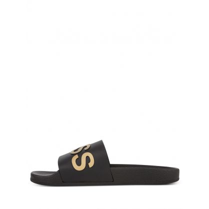 Black Beachwear Bay Logo Slides