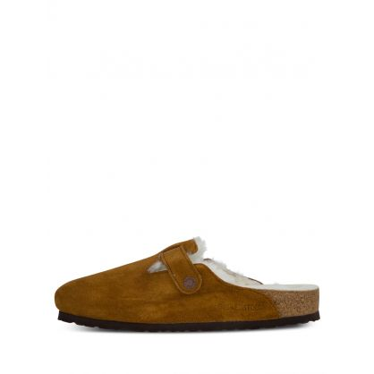 Brown Boston Shearling Suede Leather Clog