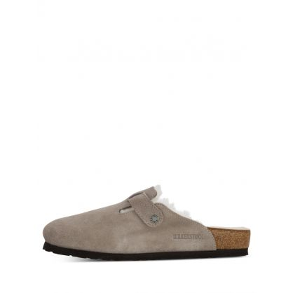Grey Suede Leather Boston Slippers