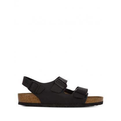 Black Narrow-Fit Natural Leather Milano BS Sandals