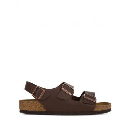 Dark Brown Narrow-Fit Natural Leather Milano BS Sandals