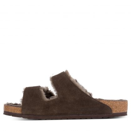 Brown Regular-Fit Arizona Shearling Suede Leather Sandals