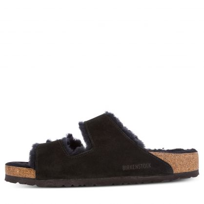 Black Arizona Shearling Suede Leather Sandals
