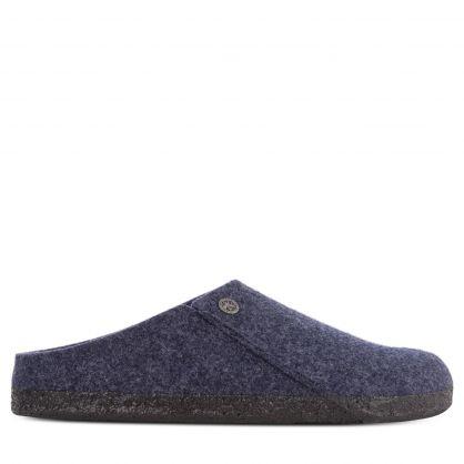 Dark Blue Zermatt Shearling Wool Felt Slippers