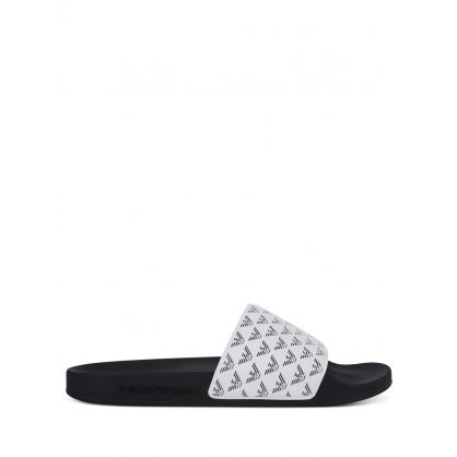 White Multi Eagle Monogram Slides