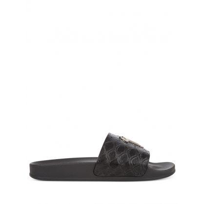Black Koi-Print Leather Brett Slides