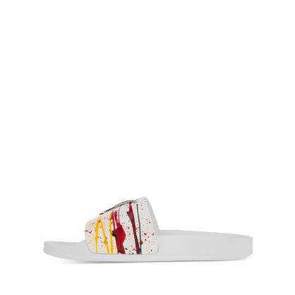 White/Multicolour 'Spot' Motif Slides