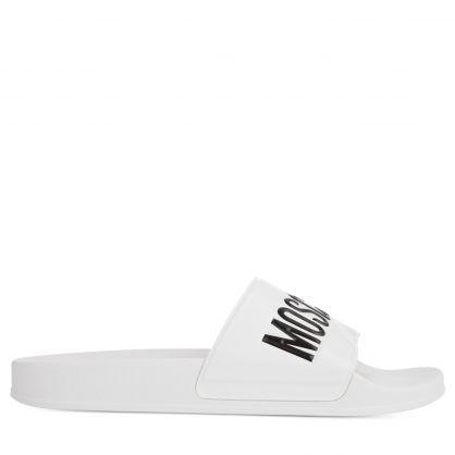 White Rubber Logo Pool Slides