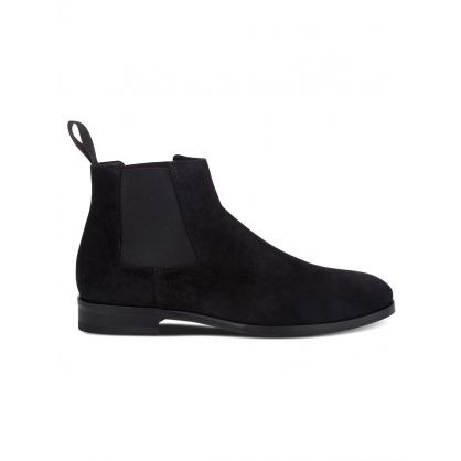 Black Suede 'Crown' Chelsea Boots