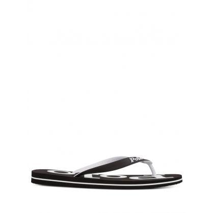 Black/White Bolt Flip Flops