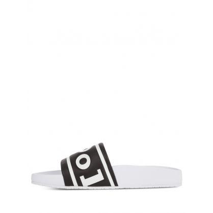 Black/White Letter Embossed Cayson Slides