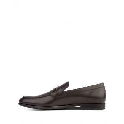 Black Single T Leather Loafers