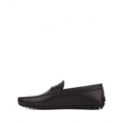 Black Leather City Gommino Loafers