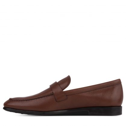 Brown Leather Buckle Loafers