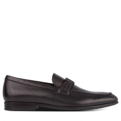 Black Leather Strap T Bar Loafers