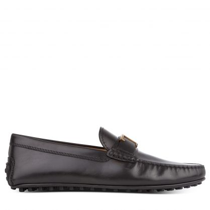 TODS Black T Bar Leather Loafers