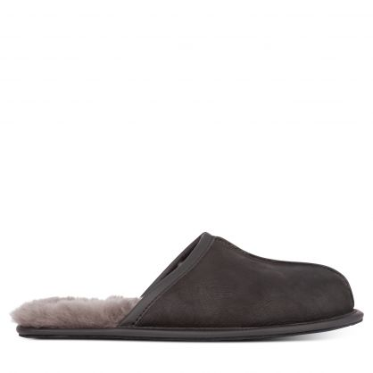 Black Leather Scuff Slippers