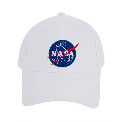 White  NASA Patch Logo  Cap