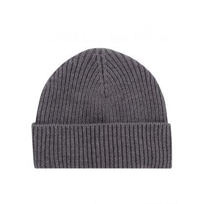 AMI Grey Ami De Coeur Patch Beanie Hat