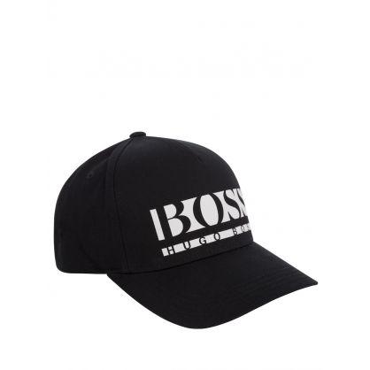 Black Athleisure Logo Crop-Cap