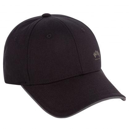 Black Logo Print Cap