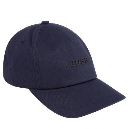 Dark Blue Cotton-Twill Raised Logo Cap