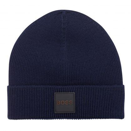 Dark Blue Casual Foxxy Beanie Hat