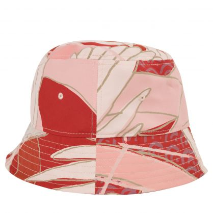 Red/Cream Crane-Print Bucket Hat
