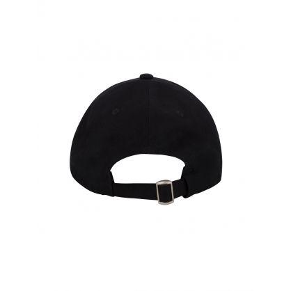 Black Embroidered Curve Cap