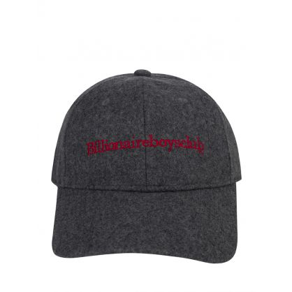 Grey Embroidered Wool Curved Visor Cap