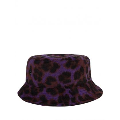 Purple Wool Leopard Bucket Hat