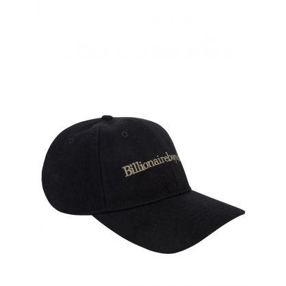 Black Wool Blend Embroidered Cap