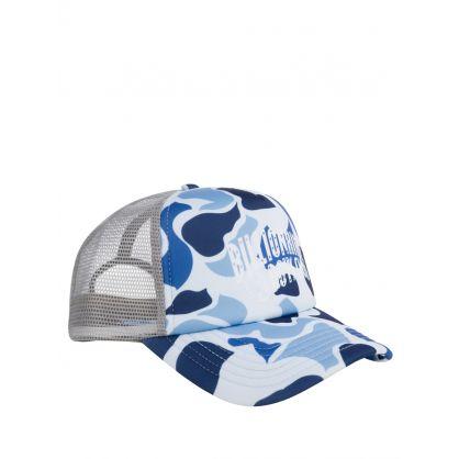 Blue Camo-Print Arch Logo Trucker Cap