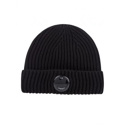 Black Knit Goggle Lens Beanie Hat