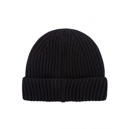 Black Knit Goggle Lens Beanie Hat