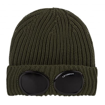 Green Merino Wool Goggle Beanie Hat