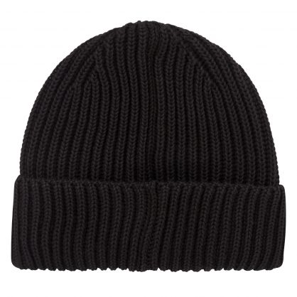 Black Merino Wool Goggle Beanie Hat