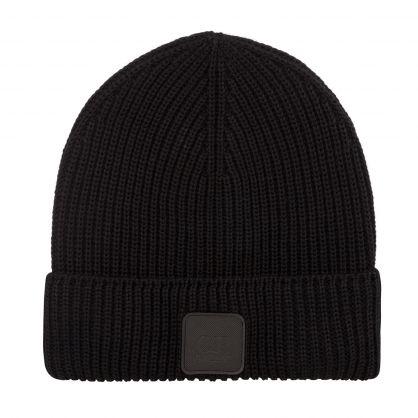 Black Fine Merino Wool Beanie Hat
