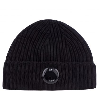 Black Extra Fine Merino Wool Beanie