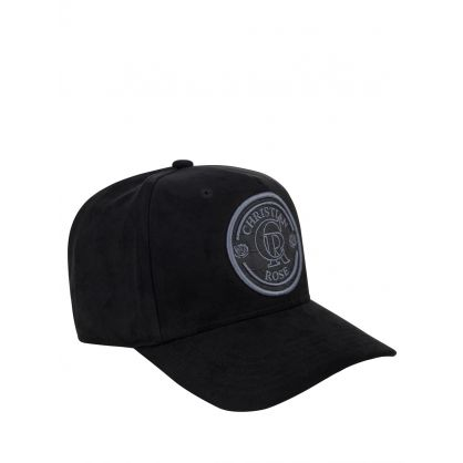 Black Suede Logo Patch Trucker Cap