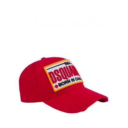 Red 'Born In Canada' Plate Logo Cap