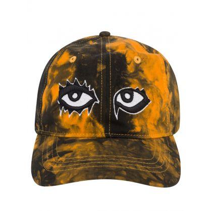 "Orange/Black Tie-Dye Cotton ""Eyes on Fire"" Dad Cap"
