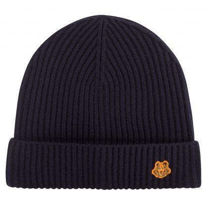 Navy Tiger Patch Logo Beanie Hat