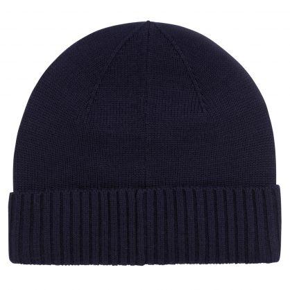 Navy Merino Wool Beanie Hat