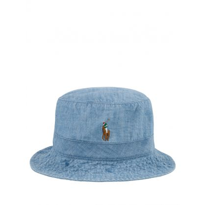 Blue Polo Player Bucket Hat